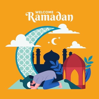 Illustration de ramadan plat