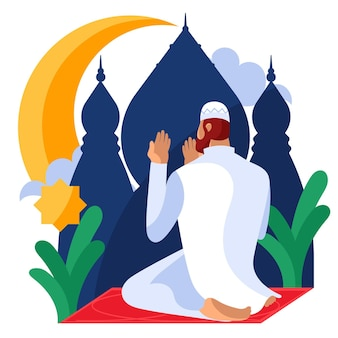 Illustration de ramadan plat