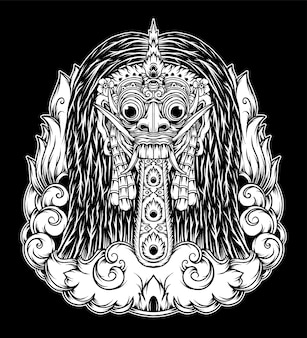 Illustration de rangda bali dessinée à la main. vecteur de prime