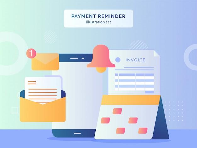 Illustration de rappel de paiement définir la date du marqueur sur le calendrier de la cloche de papier facture