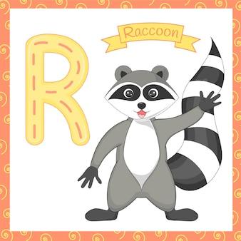 Illustration d'un raton laveur isolé alphabet r