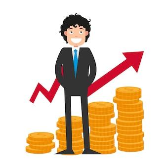 Illustration de la réalisation des objectifs. heureux homme d'affaires avec beaucoup d'argent