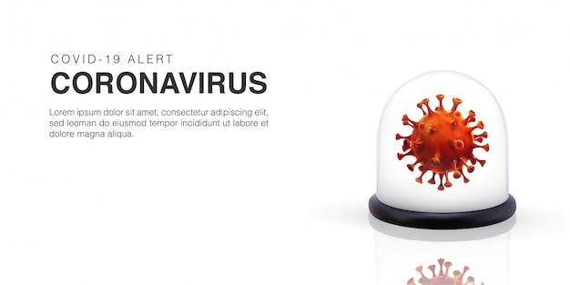 Illustration réaliste 3d d'une cellule de coronavirus confinée à l'intérieur d'une boule de verre.