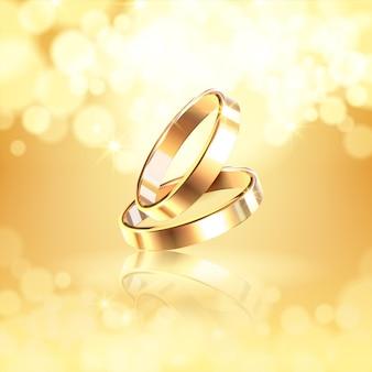 Illustration réaliste de bagues de mariage brillantes dorées luxueuses