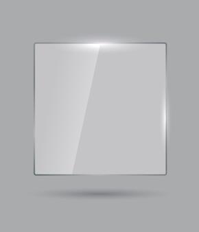 Illustration réaliste de bannière de verre brillant isolé sur fond gris