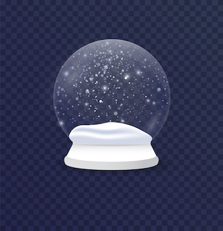 Illustration réaliste de boule de neige de noël et nouvel an