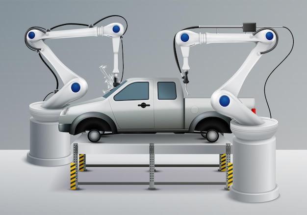 Illustration réaliste de bras robotique avec des éléments de fabrication automobile