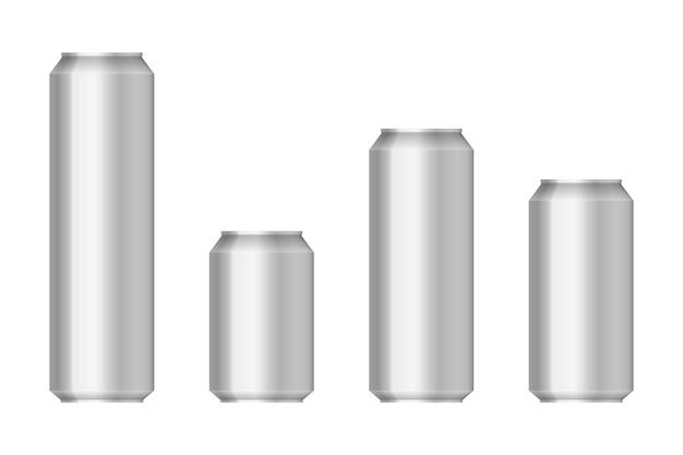 Illustration réaliste de canettes en aluminium