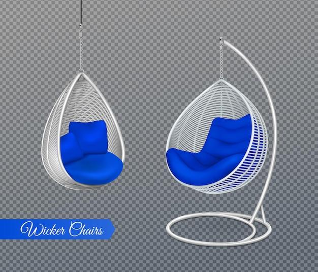 Illustration réaliste de chaises de balançoire suspendues en osier blanc
