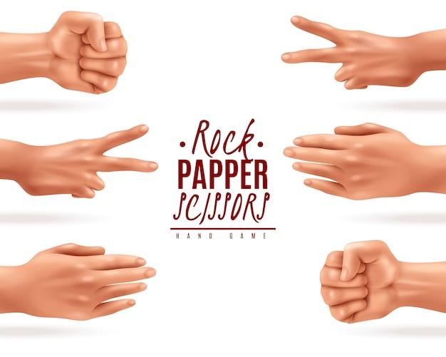 Illustration réaliste avec des ciseaux de papier de roche processus de jeu de main isolé