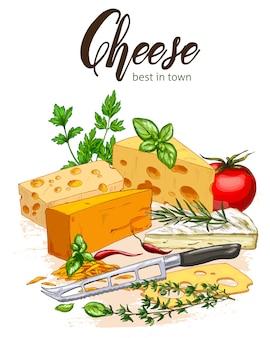Illustration réaliste en couleur de croquis de fromage et d'herbes au basilic et tomates