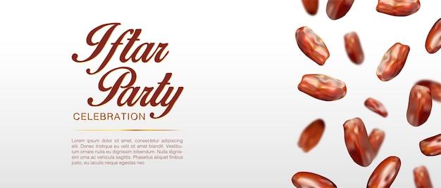 Illustration réaliste des dates tombent du modèle ci-dessus vacances islamiques ramadan kareem