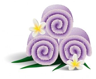 Illustration réaliste de serviettes roulées. Fleurs, décoration, salon de spa. Concept de service.