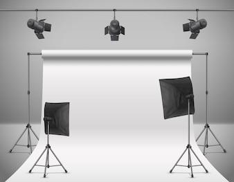 Illustration réaliste de studio photo vide avec écran blanc vierge, lampes, flash spots