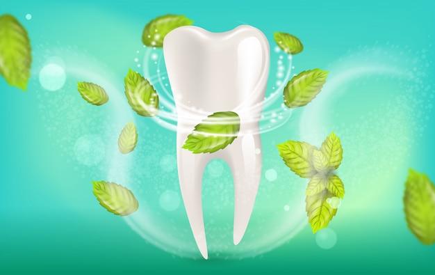 Illustration réaliste de dentifrice à la menthe naturelle