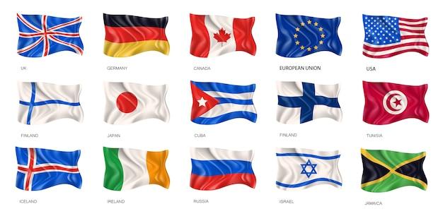 Illustration réaliste de drapeaux nationaux agitant