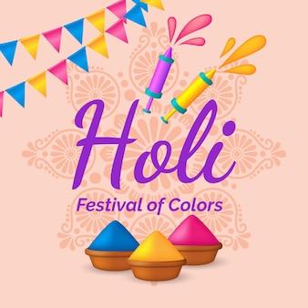 Illustration réaliste du festival holi