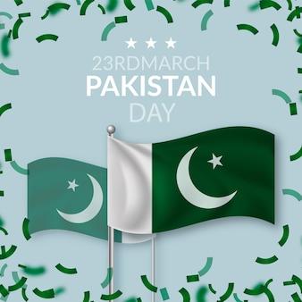 Illustration réaliste du jour du pakistan avec des drapeaux