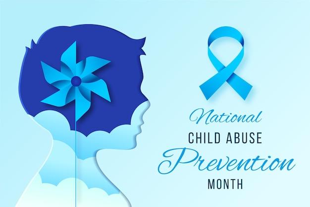Illustration réaliste du mois national de prévention de la maltraitance des enfants