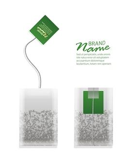 Illustration réaliste du sachet de thé avec des étiquettes vertes isolées,