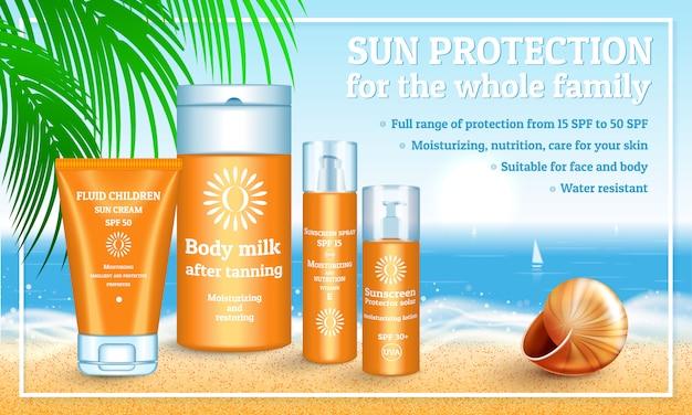 Illustration réaliste de l'emballage de protection solaire