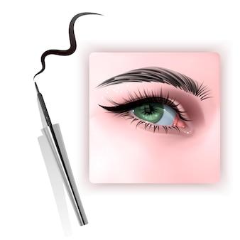 Illustration réaliste de l'eyeliner appliquant les yeux