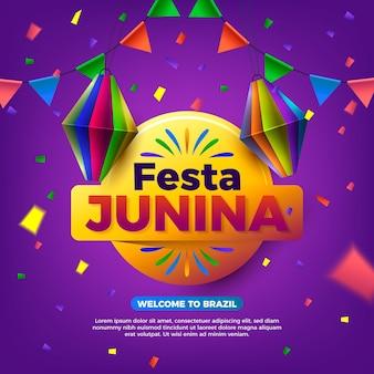 Illustration réaliste de festa junina avec le nom de l'événement