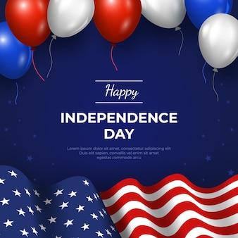Illustration réaliste de la fête de l'indépendance du 4 juillet