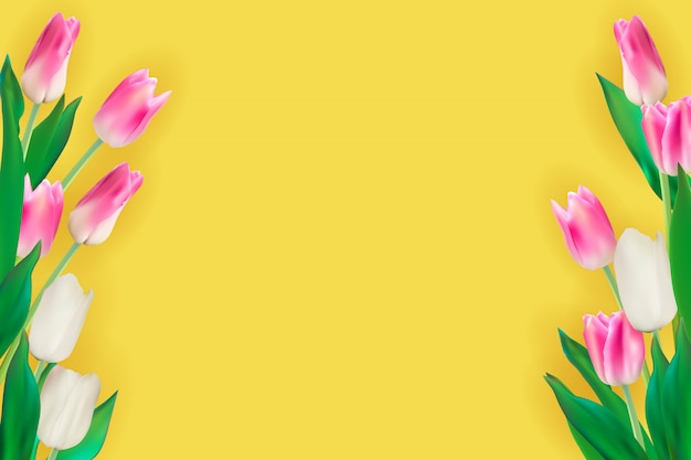 Illustration réaliste de fond de tulipes colorées