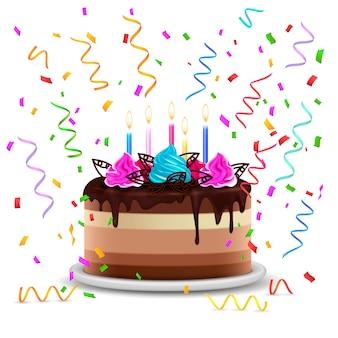 Illustration réaliste avec un gâteau d'anniversaire festif parsemé de serpentine et décoré de fleurs crème et de bougies allumées