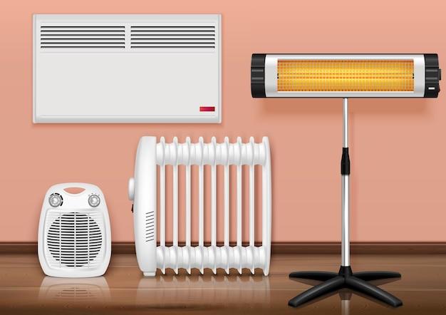 Illustration réaliste intérieure de différents appareils de chauffage