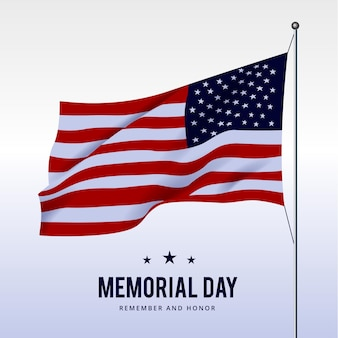 Illustration réaliste de la journée commémorative des états-unis