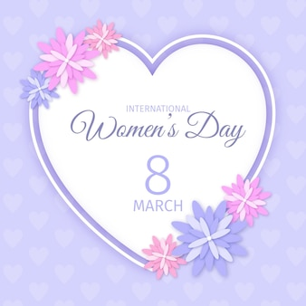 Illustration réaliste de la journée internationale des femmes avec coeur et fleurs