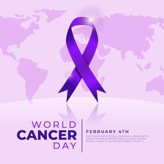 Illustration réaliste de la journée mondiale du cancer avec ruban