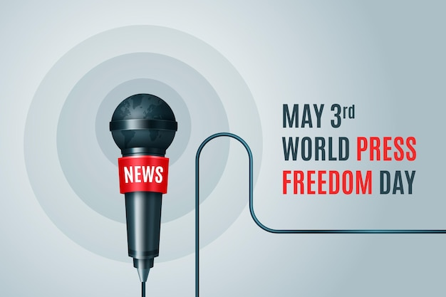 Illustration réaliste de la journée mondiale de la liberté de la presse