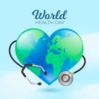 Illustration réaliste de la journée mondiale de la santé avec planète en forme de coeur