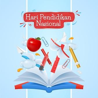 Illustration réaliste de la journée nationale de l'éducation indonésienne