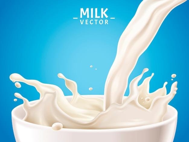 Une illustration réaliste de lait peut être utilisée comme éléments de conception