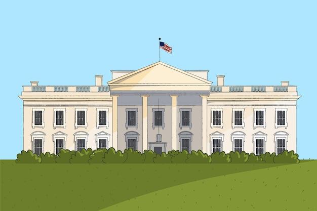 Illustration réaliste de la maison blanche dessinée à la main