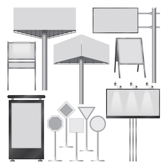 Illustration réaliste de maquettes de bannières extérieures pour le web