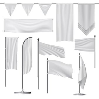 Illustration réaliste de maquettes de drapeaux pour le web