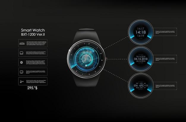 Illustration réaliste de la montre intelligente, des fonctions technologiques et du texte du modèle. illustration intelligente.