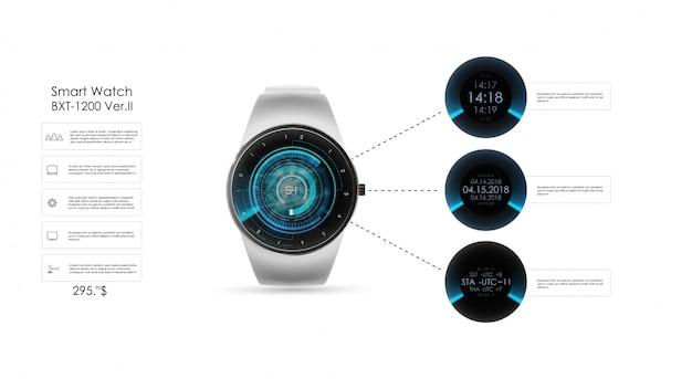Illustration réaliste de la montre intelligente, des fonctions technologiques et du texte du modèle. illustration de la montre intelligente.