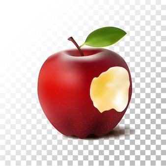 Illustration réaliste de pomme rouge mordue