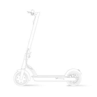 Illustration réaliste d'un scooter électrique dans un style linéaire sur fond blanc. vue de côté.