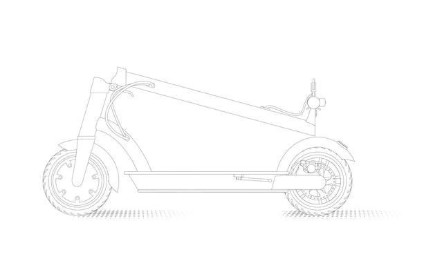 Illustration réaliste d'un scooter électrique dans un style linéaire sur fond blanc. vue latérale du scooter électrique plié