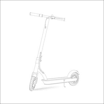 Illustration réaliste d'un scooter électrique dans un style linéaire sur fond blanc. vue de perspective.