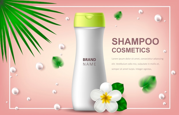 Illustration réaliste avec shampoing, bannière publicitaire ou promotionnelle