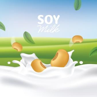 Illustration réaliste de splash de lait de soja