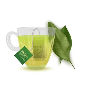 Illustration réaliste de thé vert, tasse de thé